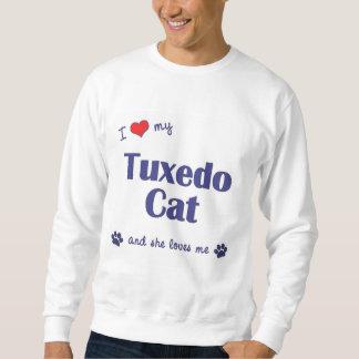 Amo mi gato del smoking (el gato femenino) sudadera con capucha
