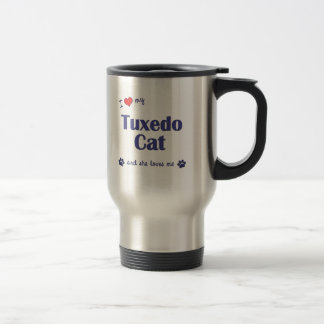 Amo mi gato del smoking (el gato femenino) taza de viaje de acero inoxidable