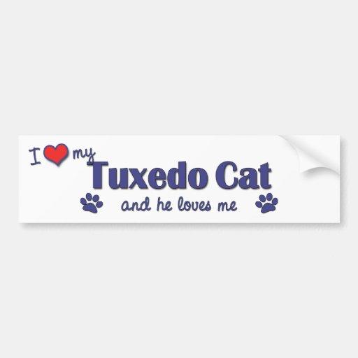 Amo mi gato del smoking (el gato masculino) etiqueta de parachoque