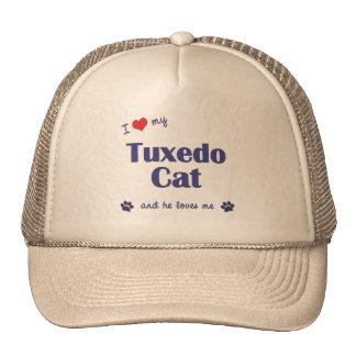 Amo mi gato del smoking (el gato masculino) gorras