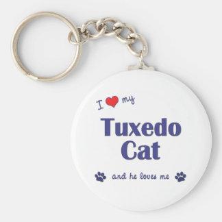 Amo mi gato del smoking (el gato masculino) llavero redondo tipo pin