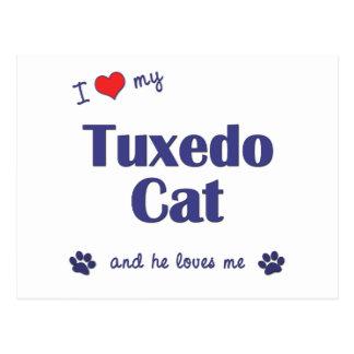 Amo mi gato del smoking (el gato masculino) tarjetas postales