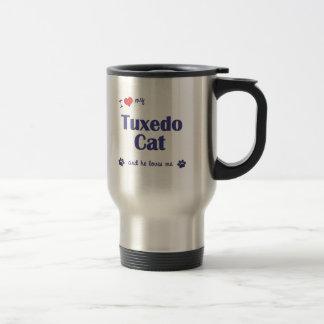 Amo mi gato del smoking (el gato masculino) taza de viaje de acero inoxidable