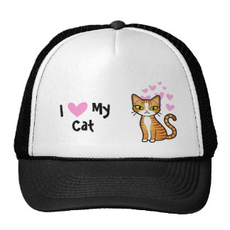 Amo mi gato (diseñe su propio gato del dibujo gorras