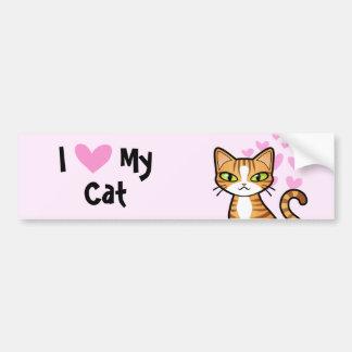 Amo mi gato (diseñe su propio gato del dibujo pegatina para auto