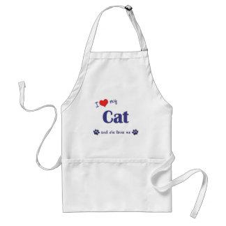 Amo mi gato (el gato femenino) delantal