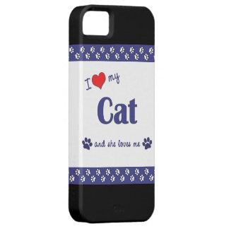 Amo mi gato (el gato femenino) funda para iPhone 5 barely there