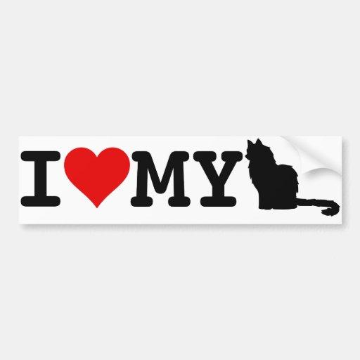 Amo mi gato etiqueta de parachoque