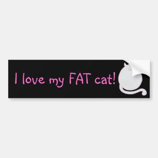 ¡Amo mi gato gordo Etiqueta De Parachoque