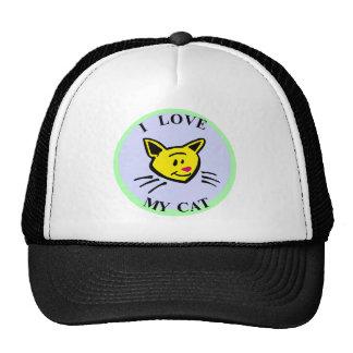 ¡Amo mi gato!!! Gorro De Camionero