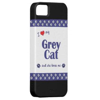 Amo mi gato gris (el gato femenino) iPhone 5 fundas