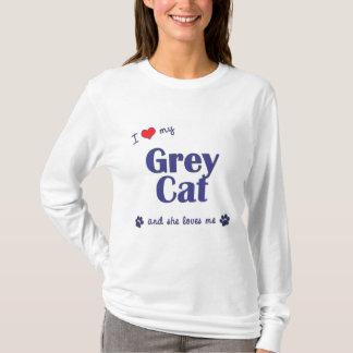 Amo mi gato gris (el gato femenino) playera