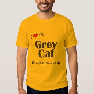 Amo mi gato gris (el gato masculino) playeras