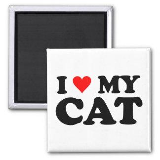 Amo mi gato imán cuadrado