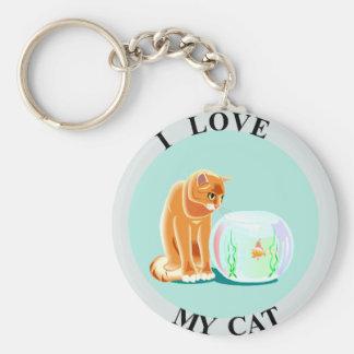 ¡Amo mi gato! Llavero Redondo Tipo Pin