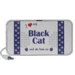 Amo mi gato negro (el gato femenino) portátil altavoces