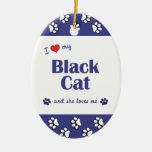 Amo mi gato negro (el gato femenino) ornamente de reyes