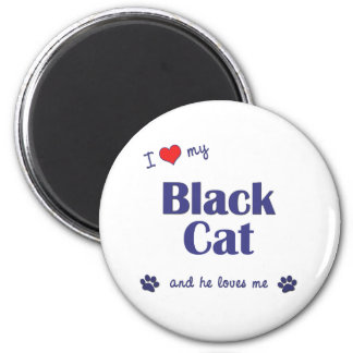 Amo mi gato negro (el gato masculino) imán redondo 5 cm