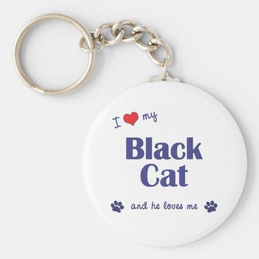 Amo mi gato negro (el gato masculino) llavero redondo tipo pin