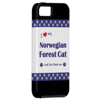 Amo mi gato noruego del bosque (el gato femenino) iPhone 5 funda