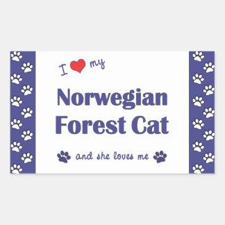 Amo mi gato noruego del bosque (el gato femenino) rectangular pegatinas