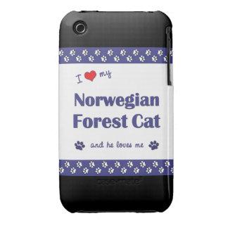 Amo mi gato noruego del bosque (el gato masculino) iPhone 3 Case-Mate carcasa