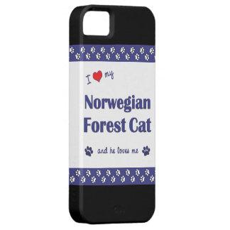 Amo mi gato noruego del bosque (el gato masculino) iPhone 5 fundas
