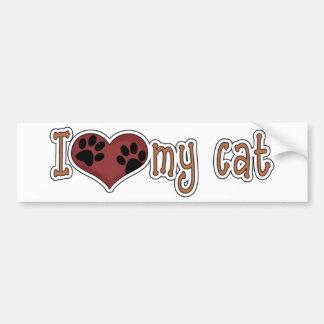 Amo mi gato - patas etiqueta de parachoque