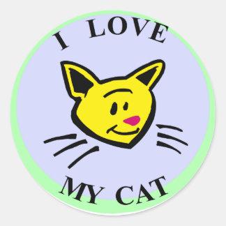¡Amo mi gato!!! Pegatina Redonda