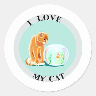 ¡Amo mi gato! Pegatina Redonda
