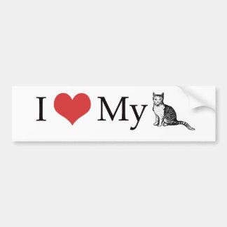 Amo mi gato pegatina de parachoque