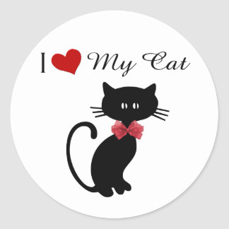 Amo mi gato pegatina redonda