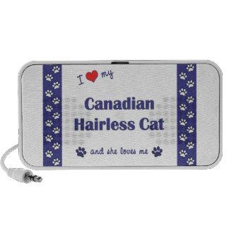 Amo mi gato sin pelo canadiense el gato femenino iPod altavoces