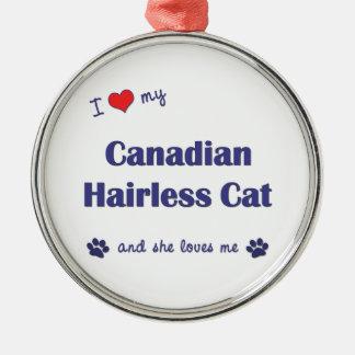 Amo mi gato sin pelo canadiense el gato femenino adorno de navidad