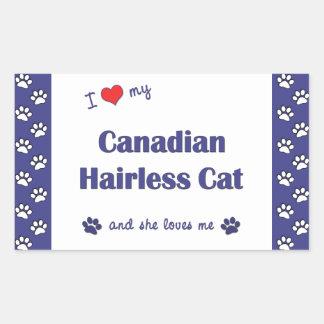 Amo mi gato sin pelo canadiense (el gato femenino) rectangular altavoces