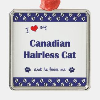 Amo mi gato sin pelo canadiense el gato masculino adorno de reyes