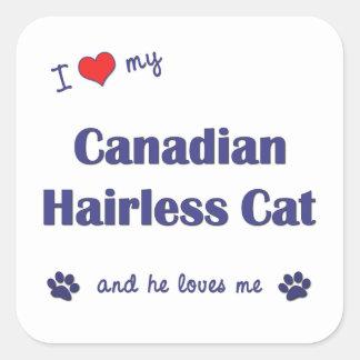 Amo mi gato sin pelo canadiense (el gato pegatina cuadrada