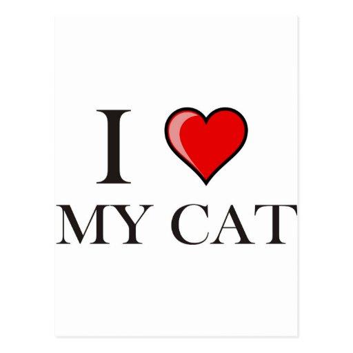 Amo mi gato tarjeta postal