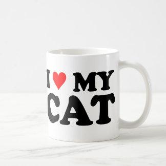 Amo mi gato taza básica blanca
