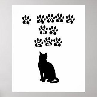 Amo mi gato--Texto negro Póster