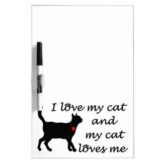Amo mi gato y mi gato me ama pizarras