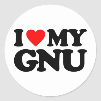 AMO MI GNU PEGATINAS REDONDAS