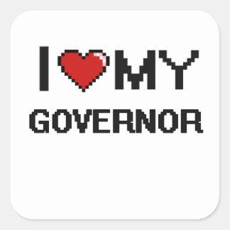 Amo mi gobernador pegatina cuadrada