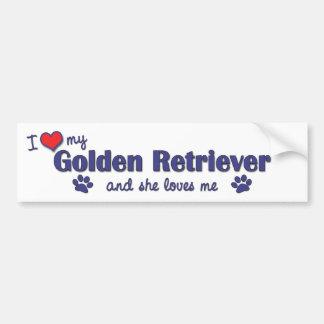 Amo mi golden retriever (el perro femenino) pegatina para auto