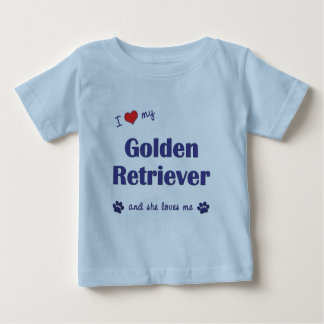 Amo mi golden retriever (el perro femenino) playera de bebé