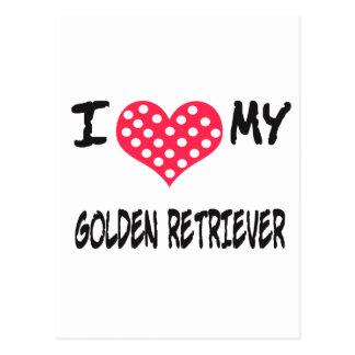 Amo mi golden retriever tarjeta postal