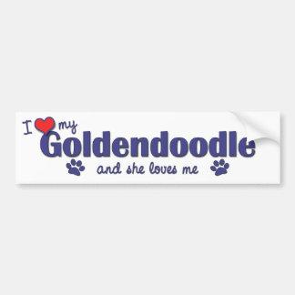 Amo mi Goldendoodle el perro femenino Pegatina De Parachoque