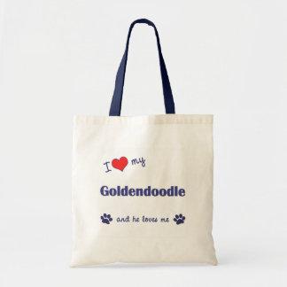 Amo mi Goldendoodle (el perro masculino) Bolsa Tela Barata