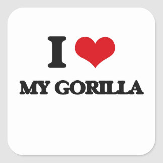 Amo mi gorila calcomanía cuadradas