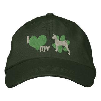 Amo mi gorra bordado Basenji (el verde) Gorra De Beisbol Bordada